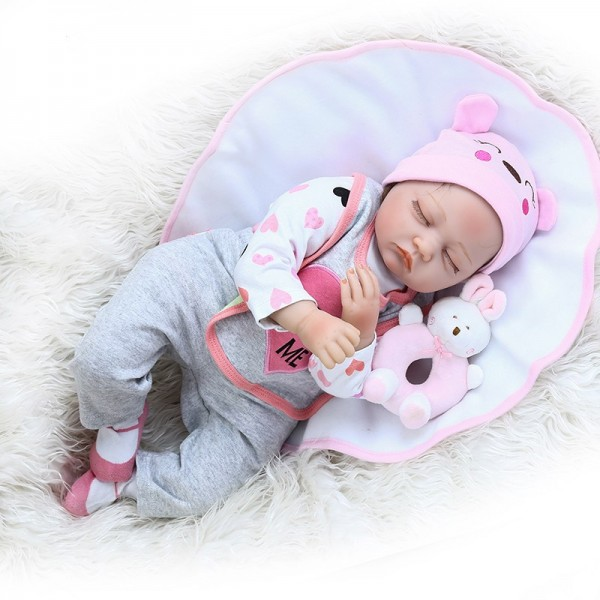 Adorable Real Newborn Baby Sweet Face Realistic Sleeping Reborn Baby 22inche