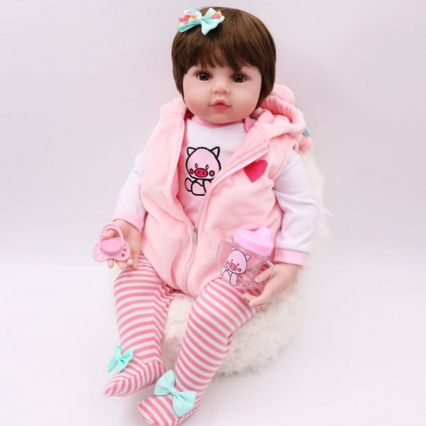 Lifelike Reborn Toddler Silicone Winyl Stuffed Body Reborn Baby Girl 19inches