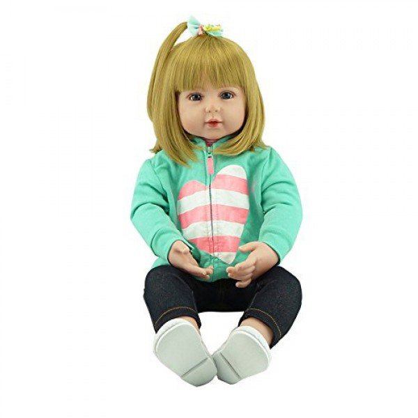 24 inches Silicone Reborn Baby Dolls Vinyl Toys Big Dolls For Girls Baby Dolls With Blond hair