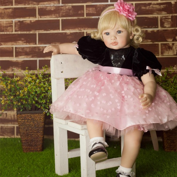 Adorable Realistic Baby Doll Handmade Reborn Toddler Girl 24inche