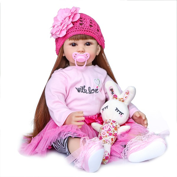 Silicone Realistic Baby Princess With Long Hair Reborn Toddler Doll 24inche
