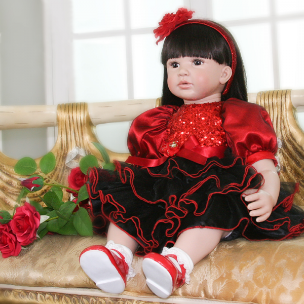 Handmade Doll Soft Silicone Cloth Body Reborn Toddler Baby Girl Doll 24Inche