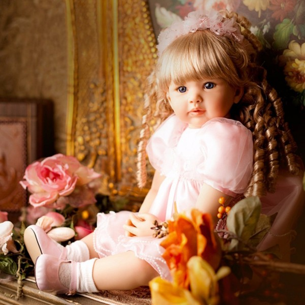 Lifelike Baby Doll Curly Blonde Hair Princess In Pink Skirt High Quality Reborn Toddler Girl 24inche