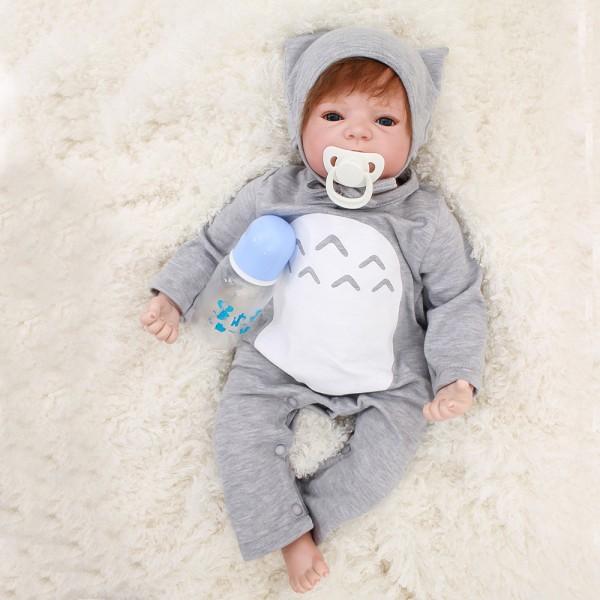 Reborn Baby Dolls Soft Silicone Vinyl Realistic Lifelike Cute Baby Boy Doll 22inch
