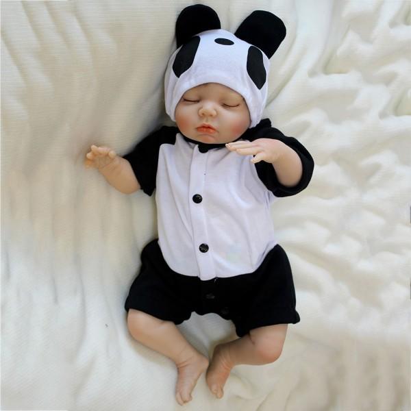 Reborn Baby Dolls Life Like Silicone Realistic Newborn Cute Panda Baby Boy 18inch