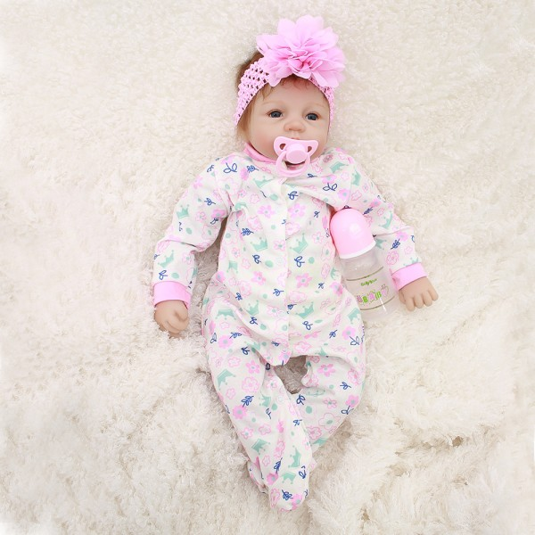 Real Life Baby Dolls Newborn Silicone Reborn Baby Girl Doll 22inch