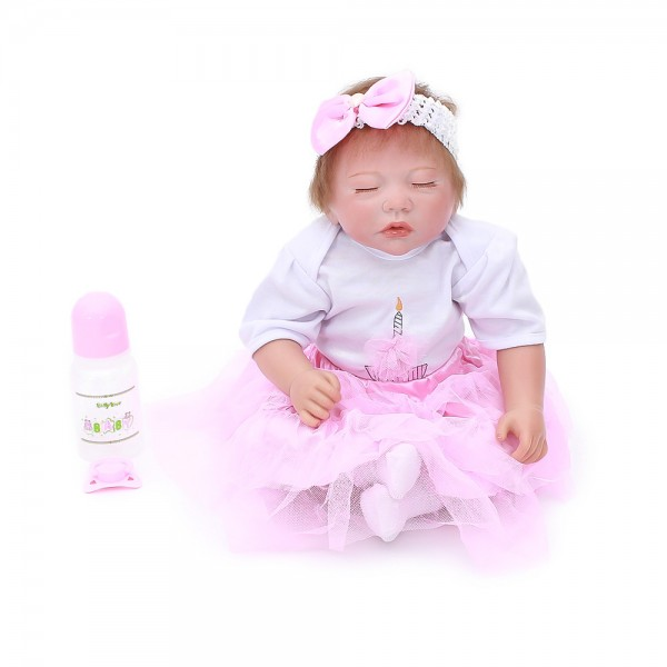 Reborn Sleeping Baby Dolls Lifelike Realistic Silicone PP Cotton Body Girl Doll 20inch