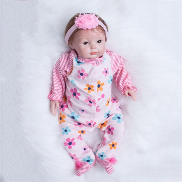 Cute Reborn Baby Dolls Newborn Silicone Real Life Baby Girl Doll 22inch