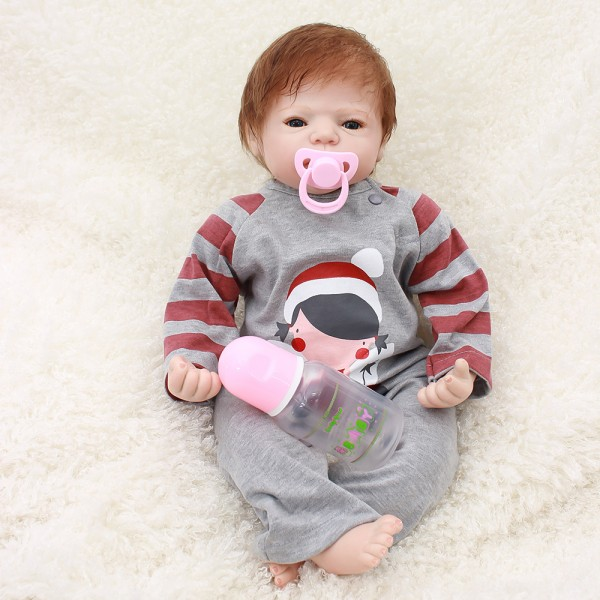 Reborn Baby Dolls Boy Silicone Lifelike Look Real Baby Doll 22inch