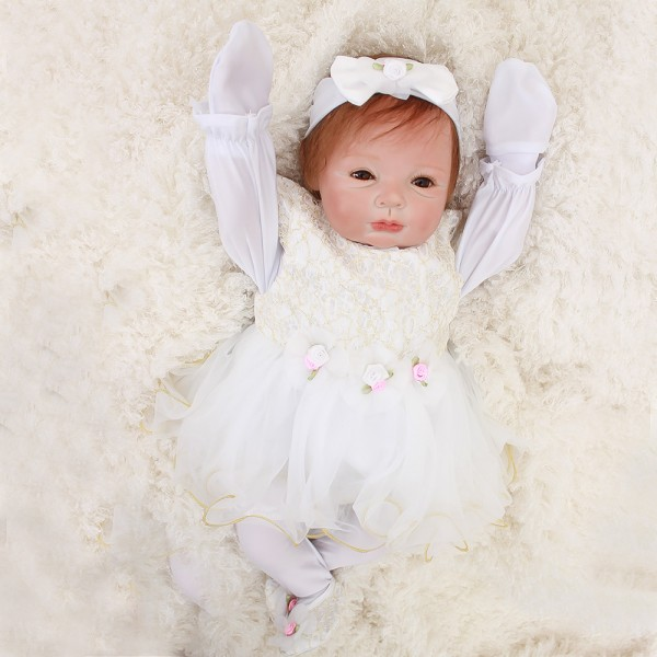 Cute Princess Reborn Baby Doll Lifelike Real Silicone Baby Girl 22inch