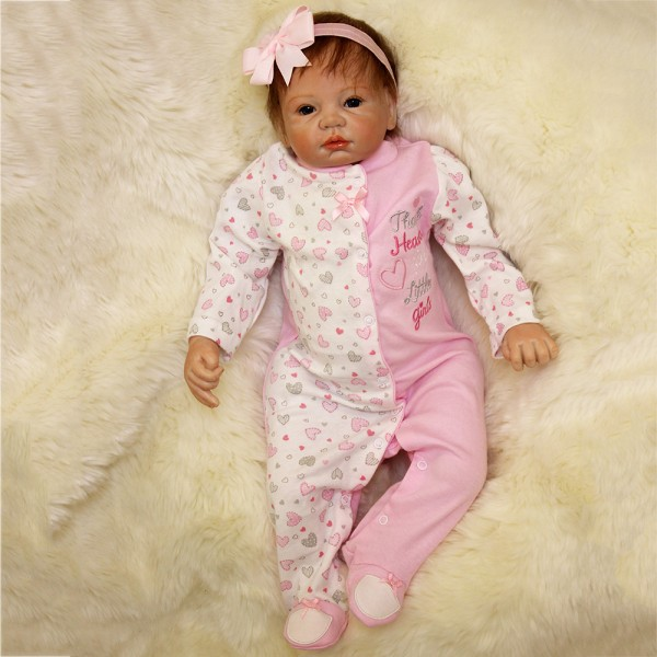 Reborn Baby Girl Dolls Silicone Lifelike Look Real Newborn Baby Doll 22inch