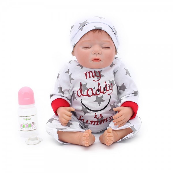 Sleeping Baby Doll Silicone Lifelike Reborn Boy Doll 22inch