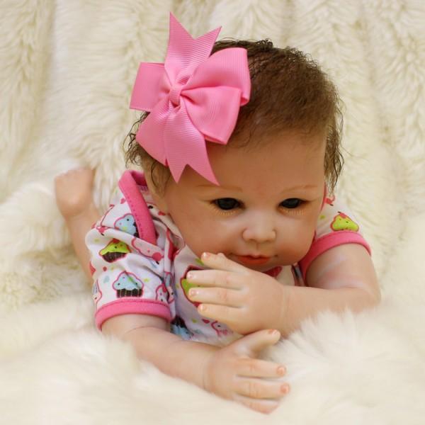 Lifelike Reborn Baby Dolls Newborn Silicone Realistic Mohair Baby Girl 18inch