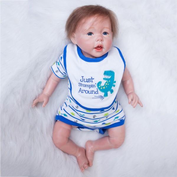 Silicone PP Cotton Reborn Baby Boy Doll Lifelike Realistic Baby Doll 22inch