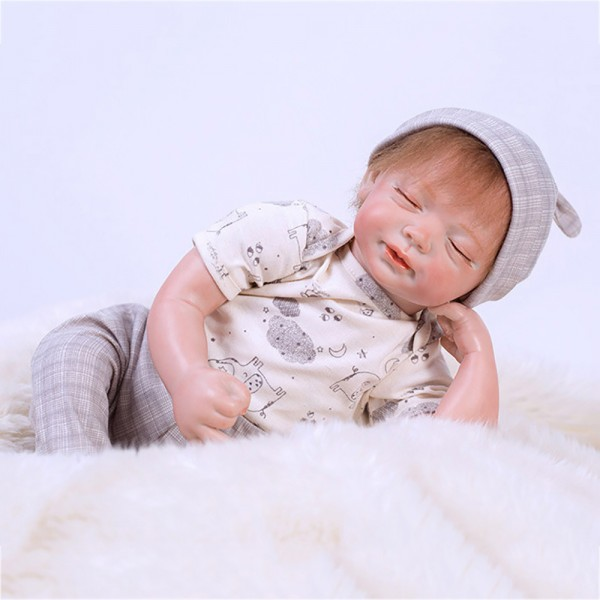Lifelike Sleeping Baby Dolls Realistic Reborn Baby Boy Doll 19inch