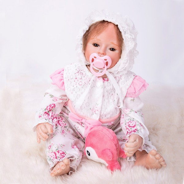 Reborn Baby Doll Lifelike Real Silicone PP Cotton Princess Girl Doll 18inch