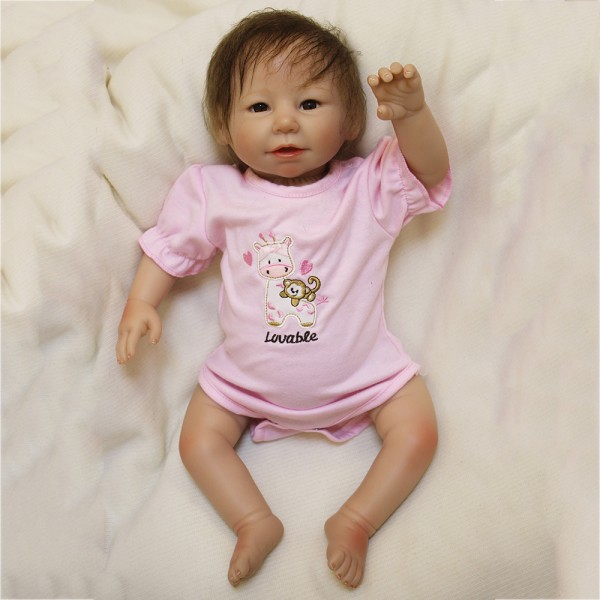 Life Like Reborn Baby Doll Realistic Silicone PP Cotton Pink Girl Doll 20inch