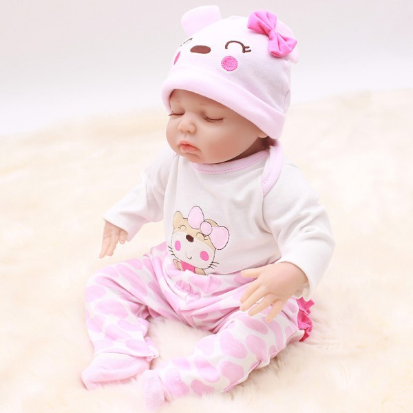 Cute Reborn Baby Dolls Girl Newborn Silicone Real Life Baby Doll 18inch