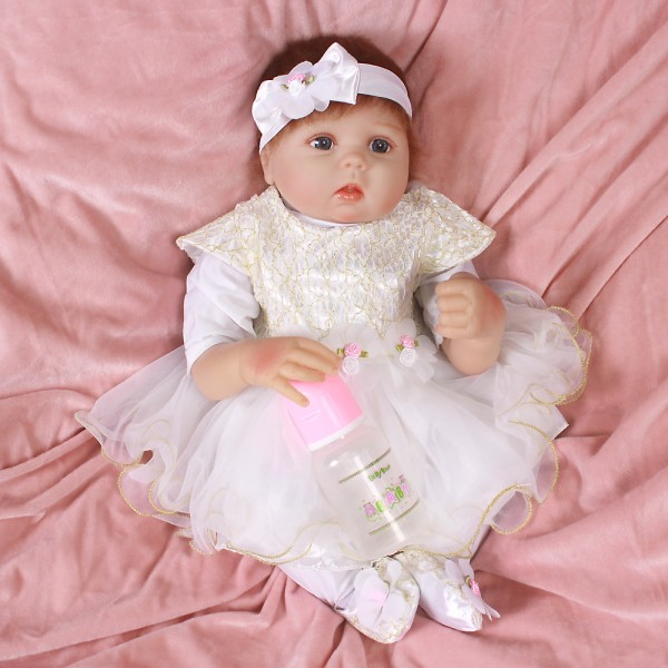 Reborn Baby Doll Girl In Princess Dress Lifelike Silicone Baby Doll 20inch