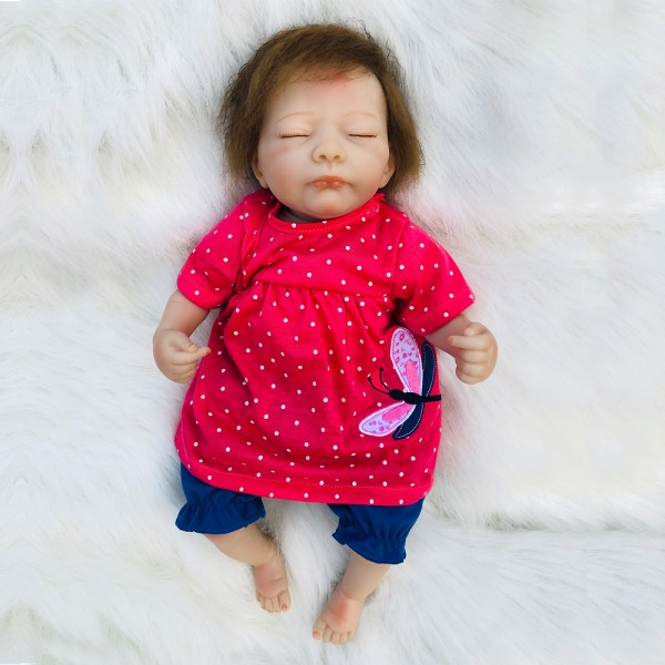Life Like Sleeping Baby Doll Girl Silicone Reborn Baby Doll 18inch