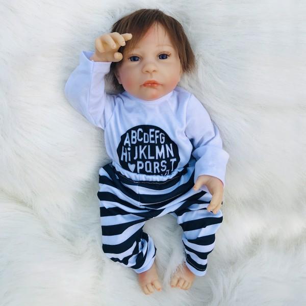 Reborn Baby Doll Lifelike Realistic Silicone Baby Boy Doll 18inch