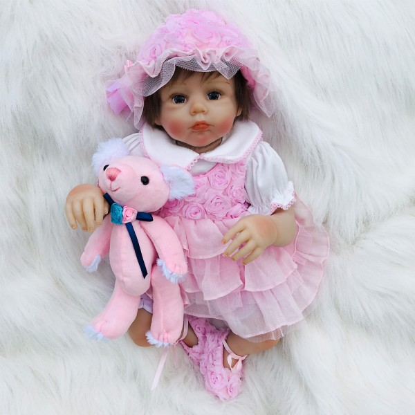 Reborn Dolls In Princess Dress Lifelike Silicone Baby Girl Doll 20inch