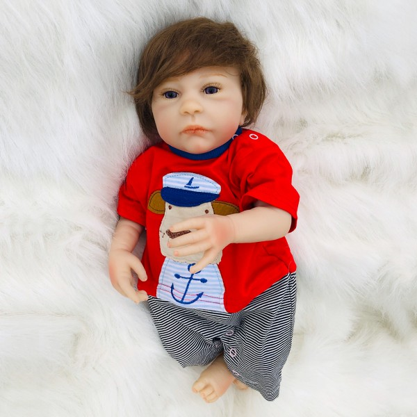 Lifelike Reborn Boy Doll With Silicone PP Cotton Body 18inch