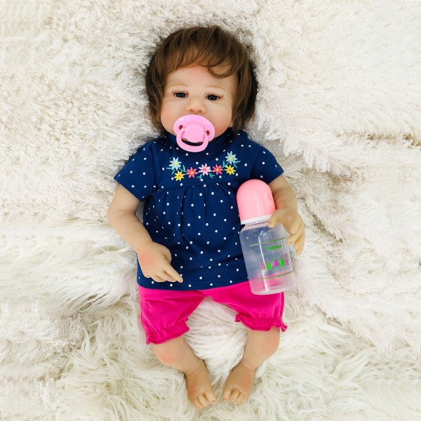 Cute Reborn Baby Doll Hand Rooted Mohair Silicone Girl Doll 18inch