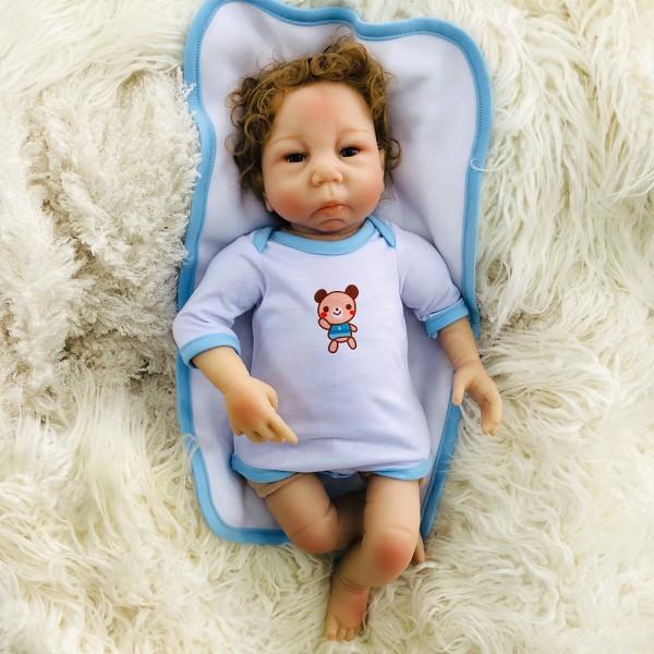 Curly Mohair Lifelike Reborn Boy Doll Silicone Baby Doll 18inch