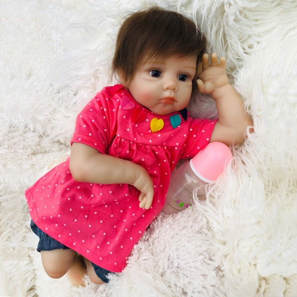 Reborn Baby Doll Mohair Lifelike Silicone Girl Doll 20inch