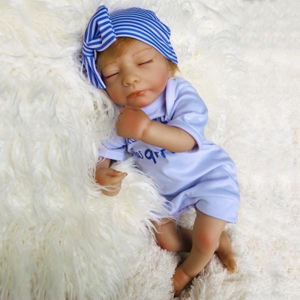 Silicone Sleeping Reborn Baby Doll Lifelike Boy Doll 18inch