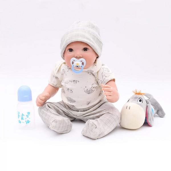 Cute Reborn Boy Lifelike Newborn Silicone Baby Doll 20inch
