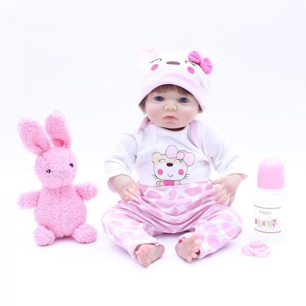 Lifelike Baby Girl Doll Silicone Realistic Reborn Doll 17inch