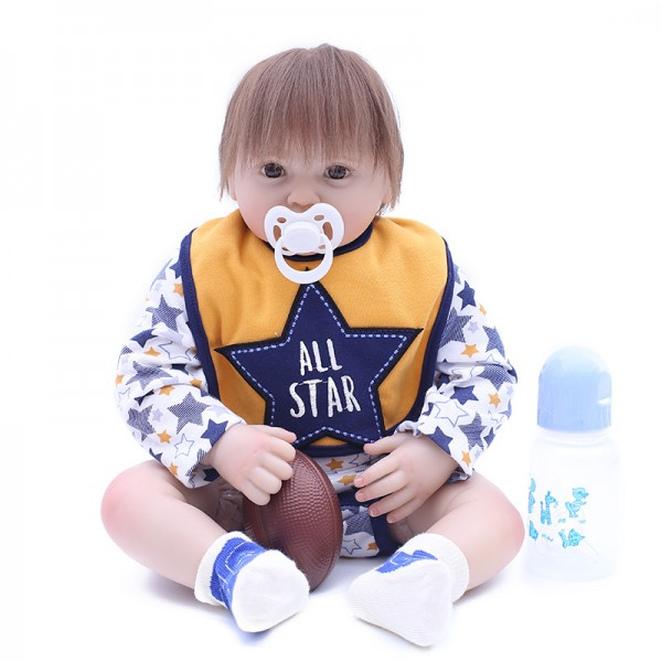 Handsome Sport Rugby Style Reborn Boy Doll Silicone Baby Doll 19inch