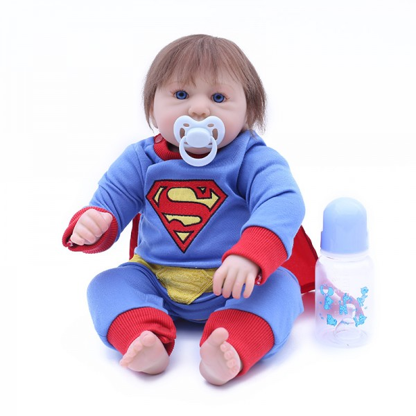 Superman Reborn Baby Doll Life Like Silicone Baby Boy Doll 17inch