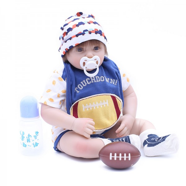 Handsome Reborn Boy Doll In Rugby Clothes Silicone Baby Doll 20inch