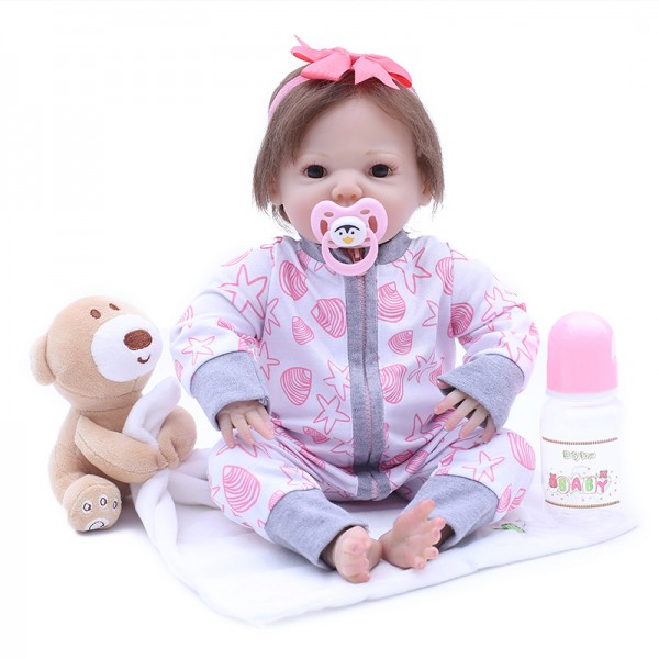 Cute Lifelike Reborn Girl Doll Silicone Realistic Baby Doll 17inch