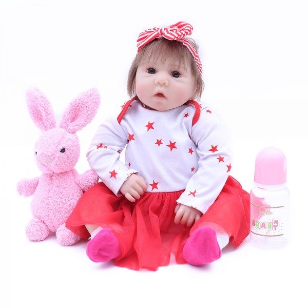 Cute Reborn Baby Girl Doll Lifelike Silicone Baby Doll 17inch