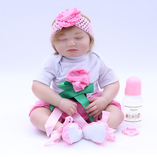 Pink Flower Sleeping Baby Girl Doll Lifelike Reborn Doll 19inch