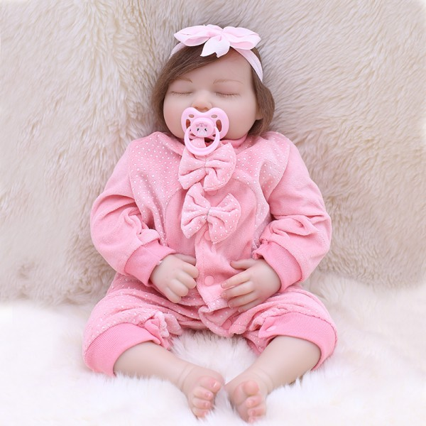 Sleeping Reborn Baby Doll In Cute Bow Romper Lifelike Girl Dolll 19inch
