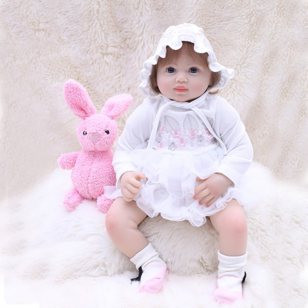 Pretty Reborn Baby Girl Doll In White Princess Dress Lifelike Doll 20inch