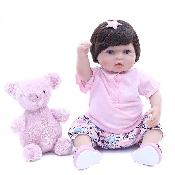 Cute Pretty Girl Doll In Pink Clothes Realistic Silicone Baby Girl Doll 15inch