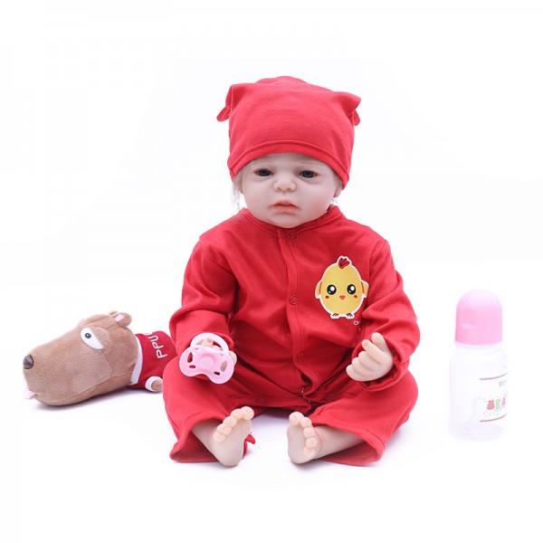 Reborn Baby Girl Doll In Red Romper Lifelike Silicone Baby Doll 20inch