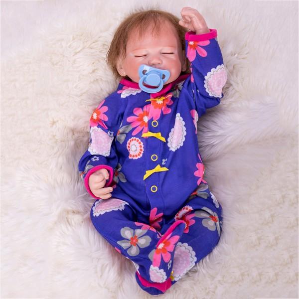 Lifelike Sleeping Baby Doll In Blue Floral Romper Realistic Reborn Boy Doll 19inch