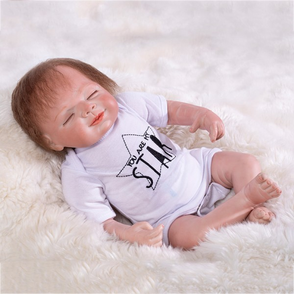 Smile Sleepy Reborn Baby Doll Lifelike Silicone Boy Doll 22inch