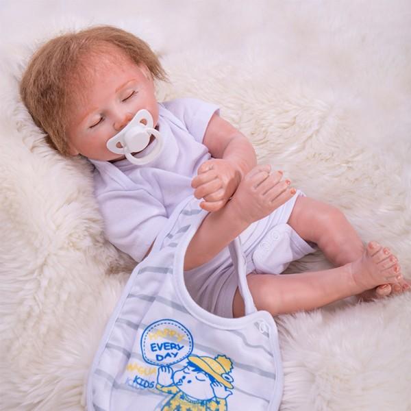 Sleeping Baby Doll Silicone Lifelike Reborn Boy Doll 19inch