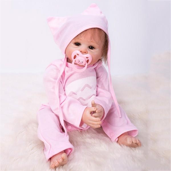 Cute Reborn Baby Doll In Pink Romper Lifelike Girl Doll 19inch
