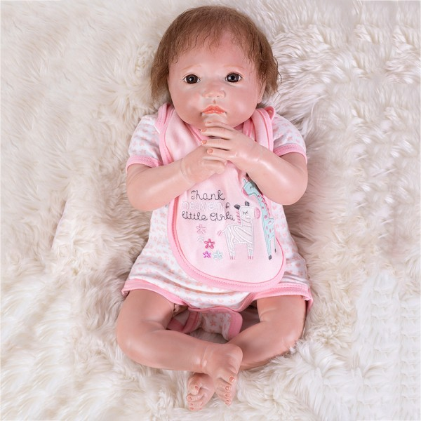 Silicone Reborn Baby Girl Doll In Pink Romper Lifelike Baby Doll 20inch