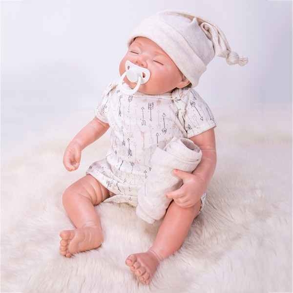 Sleeping Smile Baby Boy Doll Mohair Silicone Lifelike Reborn Doll 22inch