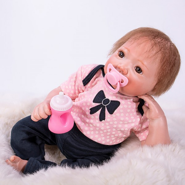 Life Like Reborn Baby Doll In Pink Romper Silicone Realistic Baby Girl 18inch